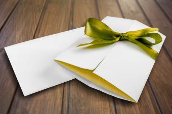 Thank you letter wrapped in ribbon