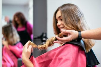 Woman donating hair