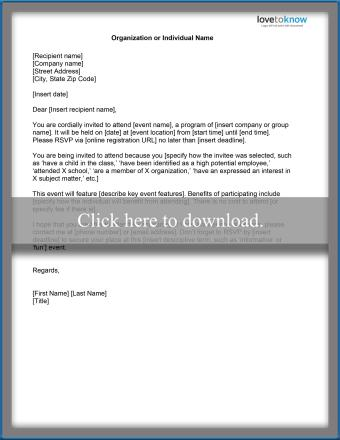 Invitation Letter Templates for Special Events