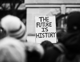 The future is history sign