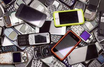 pile of old cell phones to be recycled