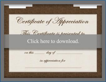 Brown free certificate of appreciation