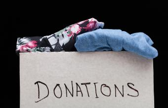 box of donated fabric