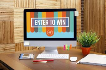 ENTER TO WIN text on screen