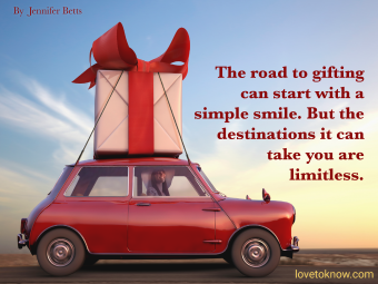 Woman hauling gift on car and quote about giving