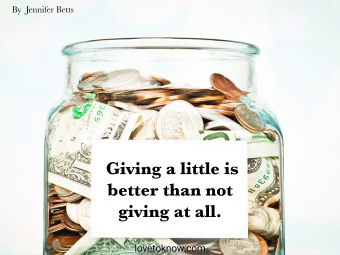 Jar of money with fundraising quote