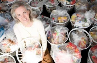 Woman with Raffle Baskets