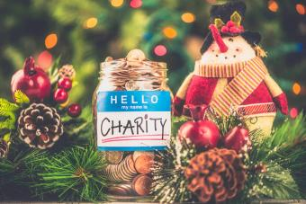 Charity donation jar in holiday setting