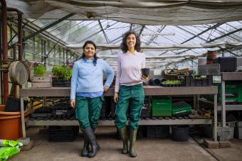 gardeners standing together in greenhouse