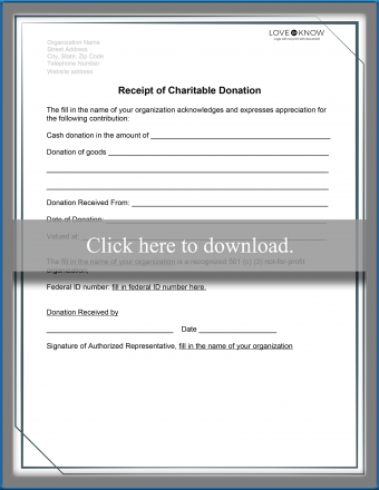 General Charitable Donation Receipt Template