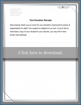 Text Receipt for Donations Template