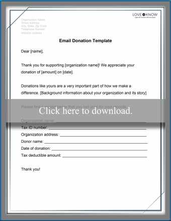 Email Template for Charitable Donation Receipt