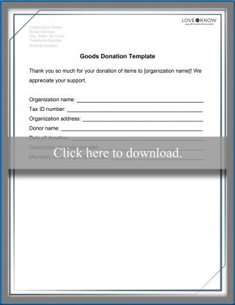 Non-Profit Donation Receipt Template for Goods
