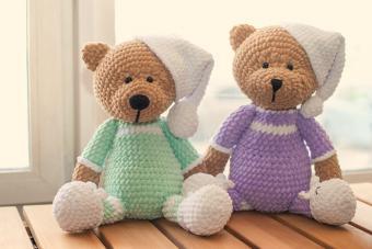 Two Knitted stuffed teddy bears