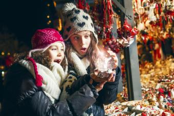 Girls in a christmas market
