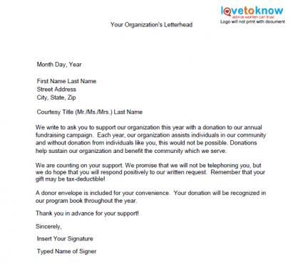 Samples of non profit fundraising letters lovetoknow for How to write a donation request letter template
