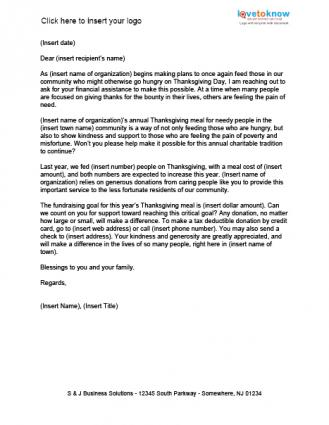 Thanksgiving donation letter lovetoknow meals for the needy fundraising letter thecheapjerseys Gallery