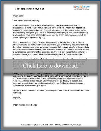 Christmas Donation Letter Templates Lovetoknow