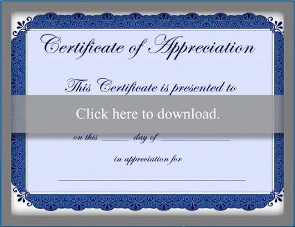 Blue certificate of appreciation