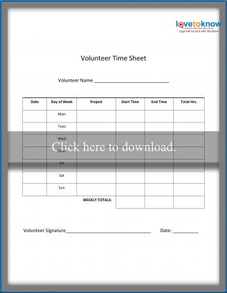 image relating to Time Sheet Printable named Volunteer Year Sheets LoveToKnow
