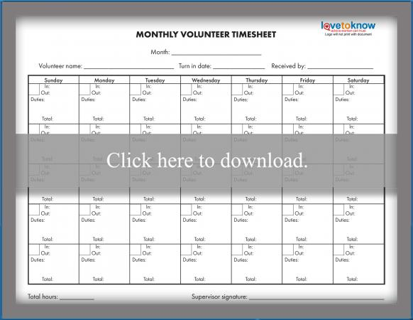 Monthly Volunteer Time Sheet