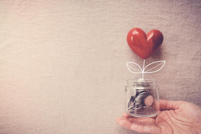 Donation jar with heart