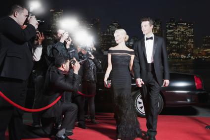 Couple dressed in black tie attire