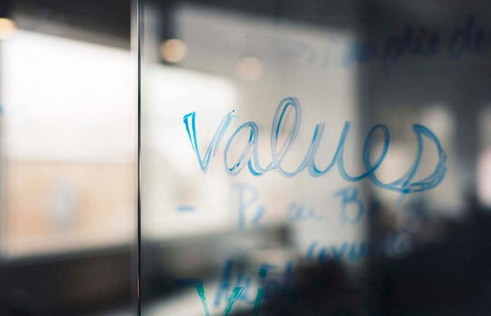 Hand writing the word Values
