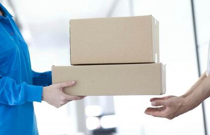 delivery man delivering package