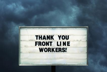 Roadside sign sends thanks to front line workers in the Coronavirus pandemic