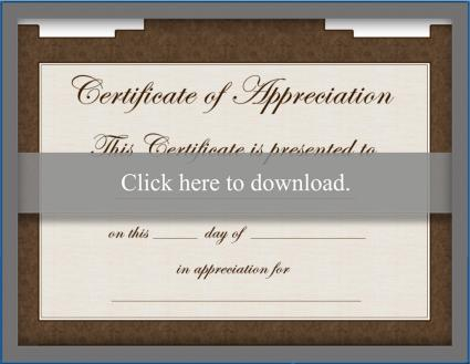 Brown free certificate of appreciation