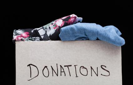 box of donated fabric