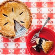 pie on a picnic blanket for a shrimp boil fundraiser