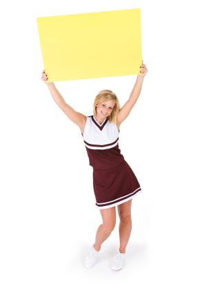 Cheerleader with poster