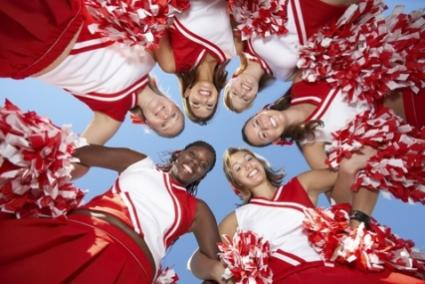 cheerleaders looking down