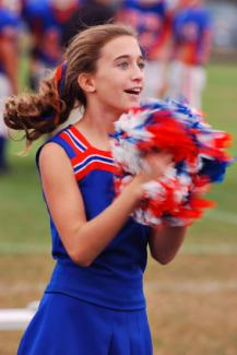 Cheerleader in action