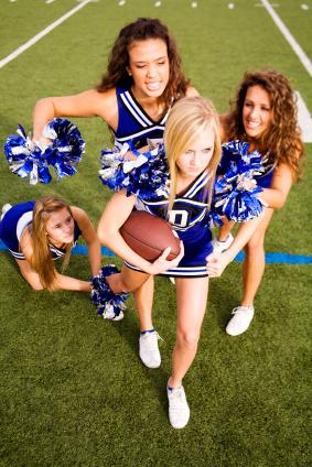 Cheerleaders performing a skit