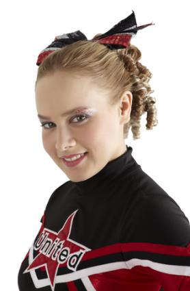 Cheerleader with bow and hair extensions