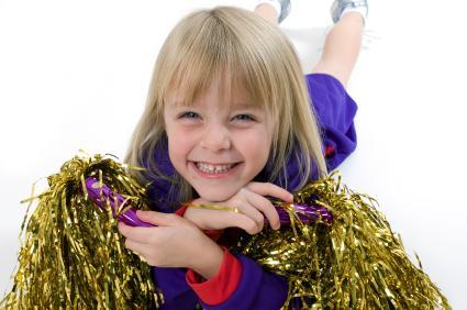 Elementary aged cheerleader
