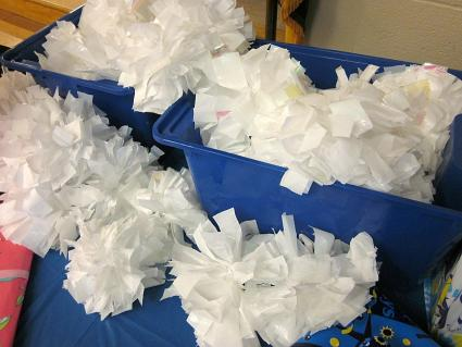 Trash bag pom poms by Amy Mascott, TeachMama.com