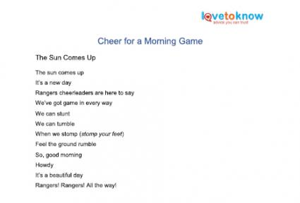Printable cheer for early morning game