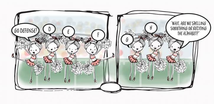 Where's The Autocorrect cheerleading cartoon