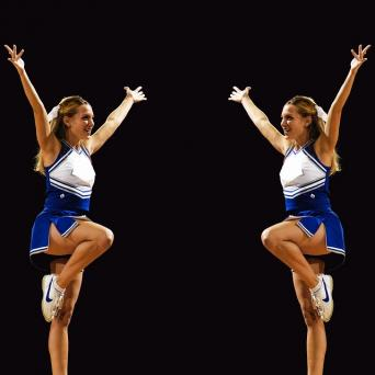 Mature cheerleader fast motion