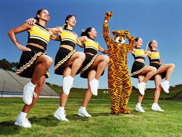 Cheerleaders and mascot