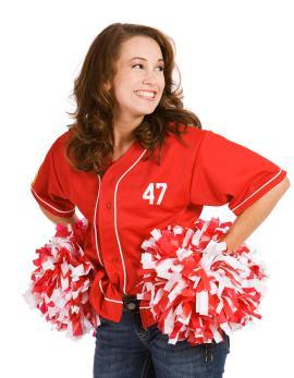 Woman prepared to cheer for her team