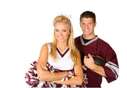 Male cheerleading uniforms are similar to female uniforms.