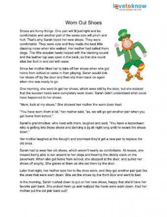 Short story about a leprechaun wearing out shoes.