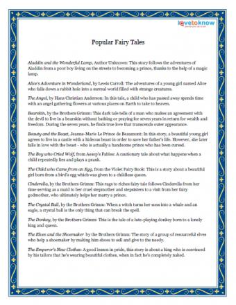 printable fairy tale list