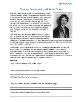 Reading comprehension worksheet Amelia Earhart