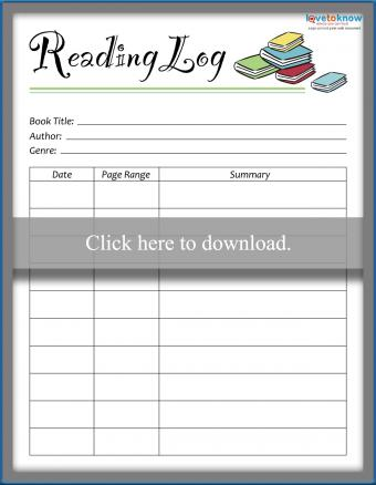 Reading log with page range and summary